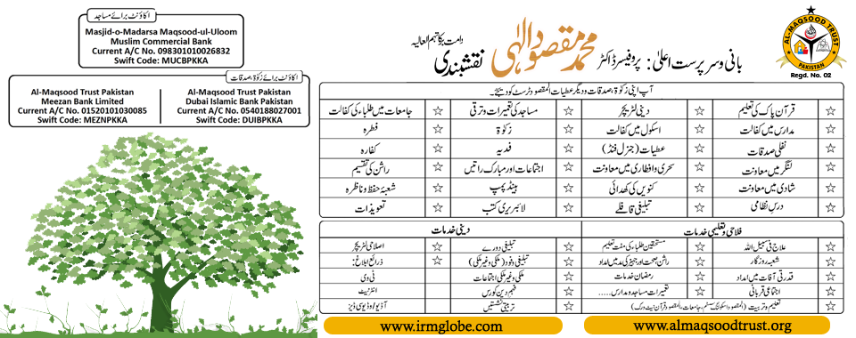 Sadqat Deegar Atyat Al-MAqsood Trust Ko Dejiye